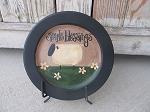 Primitive Simple Blessings Daisy Sheep Hand Painted Plate