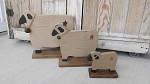 Primitive Wooden Standing Sheep Available in 3 Sizes