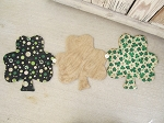 Primitive St. Patricks Day Shamrock Hand Sewn Table Runner with Vintage Button Accents