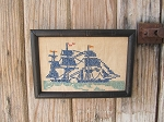 Vintage Antique Nautical Ship Cross Stitch Sampler Frame