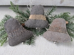 Primitive Silver Bells Hand Made Winter Set of 3 Bowl Fillers or Ornaments