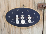 Primitive Winter Hand Made Vintage Button Snowmen At Night Oval Embroidery Hoop Frame