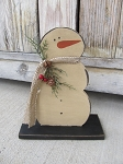 Primitive Wooden Snowman on Base with Burlap Scarf and Cedar Greens