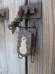 Primitive Hand Painted Snowman on Sled Ornament