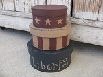 Primitive Hand Painted Liberty Stars and Stripes Oval Set of 3 Stacking Boxes in 2 Sizes
