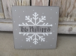 Primitive Hand Painted Winter Snowflake Personalized Sign with Color Options