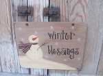 Primitive Snowin' in the Meadow Snowman Hand Painted Wooden Sign
