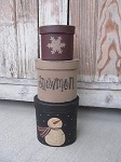 Primitive Winter Snowman Set of 3 Oval Stacking Boxes