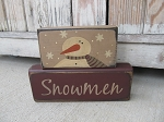 Primitive Hand Painted Snowmen Stacker Blocks Set of 2