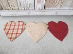 Primitive Valentine Hearts Hand Sewn Table Runner with Vintage Button Accents