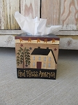 Primitive Americana Patriotic Hand Painted Stars-n-Stripes Tissue Box Cover
