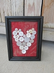 Primitive Antique Vintage White Button Heart Frame on Red Fabric