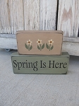 Primitive Spring is Here Set of 2 Hand Painted Stacker Blocks with Flower and Color Options