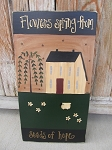 Primitive Spring Saltbox and Sheep with Daisies Hand Painted Large Wooden Sign