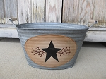 Primitive Country Star and Berries Hand Painted Galvanized Oval Tub