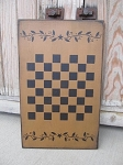 Primitive Colonial Star Berry Vine Wooden Checkerboard Game Board