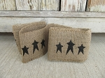 Primitive Black Star Burlap Ribbon Garland