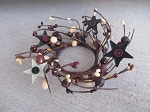 Primitive Mixed Berry with Button Center Metal Stars Pip Berry Wreath 2 1/2 Inch