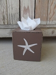 Nautical Beach Coastal Star Fish Hand Painted Tissue Box Cover