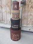 Primitive Americana Stars and Stripes Flag 1776 Set of 4 Round Stacking Boxes