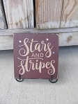 Primitive American Stars and Stripes Hand Painted Sign Plaque
