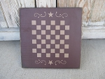 Primitive Colonial Star Scroll Wooden Checkerboard 12x12 Game Board