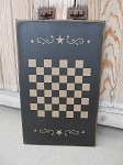 Primitive Colonial Star Scroll Wooden Checkerboard Game Board