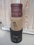 Primitive Star Soap Co. Laundry Room Large Set of 3 Round Stacking Boxes