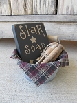 Primitive Star Soap and Clothes Pins Galvanized Tub Laundry Room Decoration Set