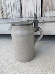 Antique Primitive 19th C Stoneware Tavern Mug Stein with Pewter Lid