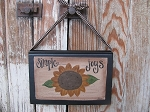 Primitive Country Sunflower Hand Painted Vintage Hanging Book