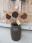 Primitive Hand Made Sunflowers on Stem Set of 3