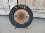 Primitive Summer Fall Sunflower Hand Painted Plate