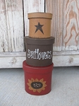 Primitive Sunflower Hand Painted Set of 3 Oval Stacking Boxes with Star or Crow Design