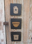 Primitive Hand Painted Crock Jug and Bowl Stoneware Sign Plaques