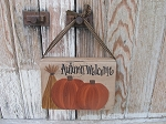 Primitive Autumn Fall Hand Painted Vintage Pumpkins with Wheat Hanging Book