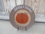 Primitive Farmhouse Thankful and Blessed Fall Pumpkin with Bittersweet Hand Painted Plate