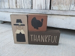 Primitive Thanksgiving Turkey and Pilgrim Set of 3 Stacking Blocks