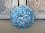Antique Original Blue and White Swirl Speckleware Enamelware Bowl