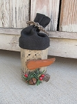 Primitive Winter Timber Wooden Snowman with Stocking Hat