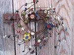 Primitive Mixed Berry with Button Center Metal Flowers Pip Berry Wreath 2 1/2 Inch