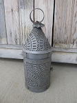 Primitive Colonial Punched Tin Round Candle Lantern