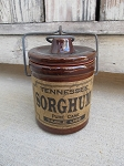 Primitive Brown Stoneware Crock with Tennessee Sorghum Primitive Label