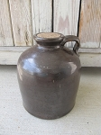 Antique Vintage Stoneware Brown Glazed Wide Mouth Jug with Handle and Cork