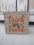 Primitive Fall Halloween Trick or Treat Hand Painted Wood Pallet Lathe Box Sign