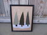 Primitive Country Felt Trees and Snowflakes Frame