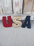 Primitive Patriotic Americana USA Letter Bowl Fillers Set of 3