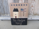 Primitive USA Saltbox House and American Flag Personalized Hand Painted Wooden Sign