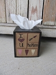 Primitive Hand Painted Valentine's Day Sampler Tissue Box Cover