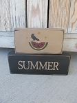 Primitive Watermelon and Crow Summer Set of 2 Hand Painted Stacker Blocks with Color Options